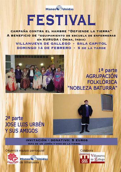 Gran festival a beneficio de Manos Unidas en Villanueva