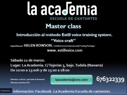 Master class en la Academia el dia 12 de marzo impartida por Helen Rowson
